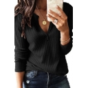 Trendy Girls Long Sleeve V-Neck Solid Color Knitted Relaxed Fit T Shirt