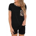 Fashionable Ladies Short Sleeve Round Neck Leopard Pattern Relaxed Fit Tee Top