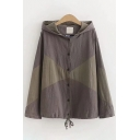Womens Casual Long Sleeve Button Down Color Block Drawstring Hem Relaxed Fit Jacket