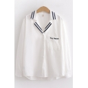 White Fashion Long Sleeve Notch Collar Button Down Stripe Print Letter SAY HELLO Embroidered Relaxed Shirt for Ladies