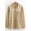 Lovely Popular Girls Long Sleeve Peter Pan Collar Lace Trim Button Down Plaid Printed Relaxed Fit Blouse