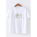 Womens Trendy Short Sleeve Round Neck Letter Print Cartoon Dog Patched Relaxed Fit T Shirt