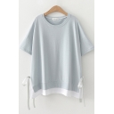 Womens Leisure Short Sleeve Round Neck Bow Tie Contrasted Patched Relaxed T-Shirt