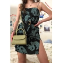 Womens Chic Black Sleeveless Allover Dragon Printed Slit Side Short Fitted Cami Dress