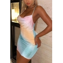 Pretty Hot Ladies Sleeveless Cowl Neck Colorblock Short Bodycon Club Cami Dress in Blue