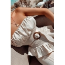 Pretty Ladies Sleeveless Strapless Pleated Ruffled Irregular Hem Buckle Belt Fit Tube Top in White