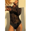 Black Hot Fashion Long Sleeve Mock Neck See-Through Mesh Glitter Slim Fit Bodysuit for Ladies