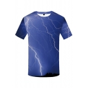 Chic Mens Short Sleeve Round Neck Lightning Printed Relaxed Fit T-Shirt in Blue