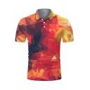 Pretty Cool Short Sleeve Lapel Collar Button Up Geometric Pattern Slim Fit Polo Shirt