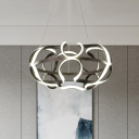 Acrylic Twisting Suspension Lamp Contemporary LED Ceiling Chandelier in Coffee for Dining Room