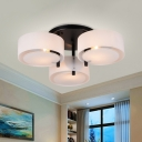 3 Heads Bedroom Semi Flush Light Modernism White Ceiling Mounted Fixture with Drum Acrylic Shade