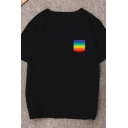 Streetwear Black Short Sleeve Round Neck Rainbow Pocket Loose Fit Tee Top for Girls