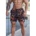 Stylish Muscle Guys Streetwear Drawstring Waist Floral Allover Printed Loose Fit Shorts