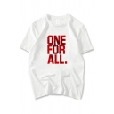Chic Simple Short Sleeve Round Neck Letter ONE FOR ALL Printed Relaxed Fit T-Shirt in White