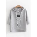 Popular Streetwear Girls Three Quarter Sleeves Drawstring HEY Letter Print Relaxed Hoodie