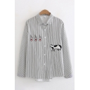 Cute Fashion Girls Long Sleeve Lapel Collar Button Up Cow Milk Embroidery Stripe Printed Loose Fit Shirt