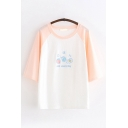 Preppy Girls Short Sleeve Round Neck Letter EAT EVERYDAY Cartoon Embroidered Color Block Relaxed Tee