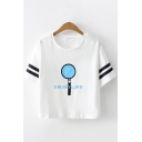 Cool Street Girls Short Sleeve Round Neck Letter UMIBYLIFE Magnifying Glass Loose T-Shirt in White