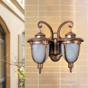 Farmhouse Urn Wall Light Fixture 2 Lights Opal Cracked Glass Wall Sconce in Rust