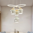 Modern House Shaped Hanging Chandelier Aluminum 4 Heads Restaurant Suspended Lighting Fixture with Twisting Design in White
