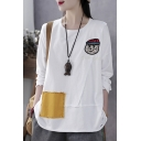 Cute Popular Girls Long Sleeve Round Neck Letter SEE YOU Cartoon Embroidered Patched Color Block Roll Edge Relaxed Tee Top