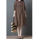 Casual Womens Long Sleeve Lapel Collar Button Down Polka Dot Print Lace Trim Midi Oversize Shirt Dress