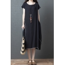 Leiusre Simple Ladies Black Short Sleeve Round Neck Contrast Piped Cotton and Linen Maxi Oversize Dress