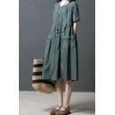 Classic Girls Vintage Short Sleeve Round Neck Cotton and Linen Patchwork Maxi Plain Oversize Dress