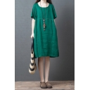 Green Retro Style Short Sleeve Round Neck Cotton and Linen Contrast Piped Patched Midi Oversize Dress for Girls