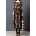 Amazing Womens Roll Up Sleeve Round Neck All Over Floral Printed Ruched Linen and Cotton Maxi Swing Dress in Black
