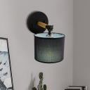 1 Bulb Living Room Wall Light Sconce Minimal Black Wall Lighting Fixture with Cylinder Fabric Shade