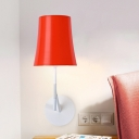 Metal Tapered Wall Mount Light Fixture Minimal 1 Light Wall Lighting in Orange for Dining Room