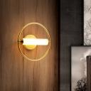 Circular Bedroom Wall Mounted Lighting Metallic 1 Head Simplicity Sconce Light in Brass