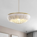Dome Cage Metal Ceiling Chandelier 2 Bulbs Gold Hanging Light Kit with White Feather Deco, 16