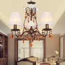Fabric Cone Chandelier Lamp American Flower 3 Lights Dining Room Pendant in Antique Brass with Coffee Crystal Accent