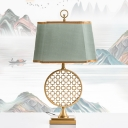 Metal Circle LED Nightstand Light Chinese Style 1 Light Gold Table Lamp with Green Fabric Shade