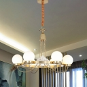Frosted White Glass Ball Pendant Post Modern 6 Bulbs LED Hanging Chandelier in Gold with Curved Arm