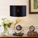 Black Drum Nightstand Lighting Minimalist 1 Bulb Fabric Night Table Lamp with Agate Decor and Metal Curved Arm