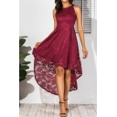 Boutique Womens Sleeveless Round Neck Lace Solid Color High Low Hem Long Pleated Flowy Dress