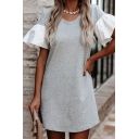 Popular Formal Womens Bell Sleeve Round Neck Ruffled Panel Mini A-Line T-Shirt Dress in Gray