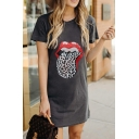 Leisure Womens Short Sleeve Round Neck Leopard Lip Printed Mini Shift Tee Dress