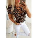 Popular Womens Short Sleeve V-Neck Lace Up Leopard Pattern Fitted T-Shirt in Brown