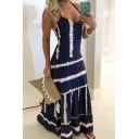 Trendy Fancy Womens Sleeve Stripe Print Colorblocked Maxi A-Line Cami Dress