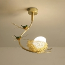 Frosted Glass Oval Ceiling Light with Nest and Bird Art Deco 1 Light Foyer Pendant Light in Gold