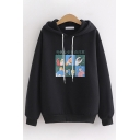 Harajuku Womens Long Sleeve Drawstring Japanese Letter Cartoon Graphic Loose Fit Hoodie in Black