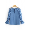Casual Womens Long Sleeve Round Neck Bow Tie Ruffled Trim Lace Patched Polka Dot Print Mesh Relaxed Plain Blouse Top