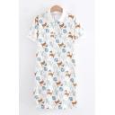 Preppy Girls Short Sleeve Lapel Neck Button Up Allover Cartoon Cat Printed Long Shift Polo Dress