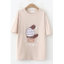Trendy Womens Short Sleeve Round Neck Japanese Letter Bear Graphic Loose Fit T Shirt