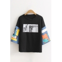 Streetwear Womens Three-Quarter Sleeves Round Neck Letter Print Cattoon Graphic Relaxed Fit Tee Top