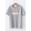 Simple Womens Short Sleeve Round Neck Letter BRIT CORGI Dog Embroidery Relaxed Fit T-Shirt